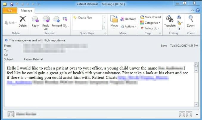 Philadelphia ransomware phishing email.