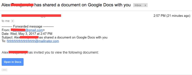 Phishing email containing Google Docs virus.